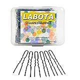 LABOTA 200 pezzi U Forma Forcine Bobby Pins Forcine e U Perni per Capelli con una scatola trasparente; Nero