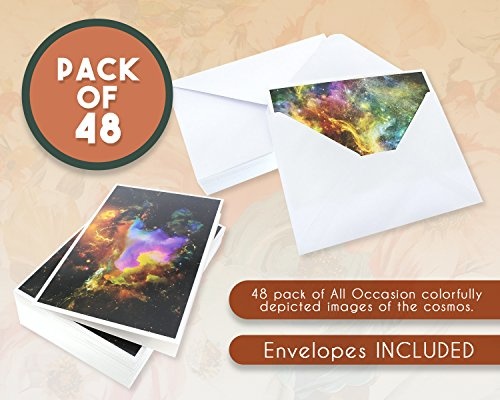 48 Pack All Occasion Greeting Cards - Assorted Blank Note Cards Bulk Box Set Cosmic Designs - Envelopes Included - 4 x 6 Inches Photo #3