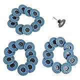TEHAUX 31 Unidades de Discos de Lijado de Solapa 2- Pulgadas 40 Grano Biselado Tipo Fibra de Vidrio Rueda Biselada Tipo Metal Ruedas de Corte para Amoladoras Angulares