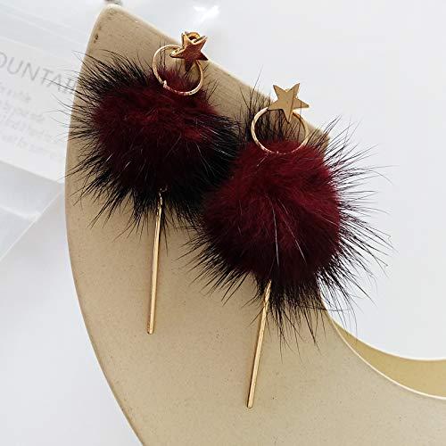 Chwewxi Geeignet für Winterhaar Ball Ohrringe Wasser Haar Ohrringe einfache Mädchen Liebe haarige Ohrringe Ohrclip-Set, kastanienbraune 73# rote Ohrringe