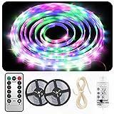 Tira LED de 5 m, impermeable, tira LED RGB regulable, 5 velocidades y 8 modos, Euproce, luz LED con mando a distancia IR, LED para decoración de casa, cocina, boda o fiesta