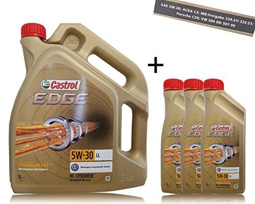 Castrol Edge Fluid Titanium 5W-30 LL motorolie, 3 x 1 l + 5 l = 8 liter