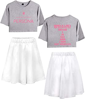 Landove BTS World Tour Tracksuit Two Piece Women Crop Top and Skirt Set A12616TXDQ