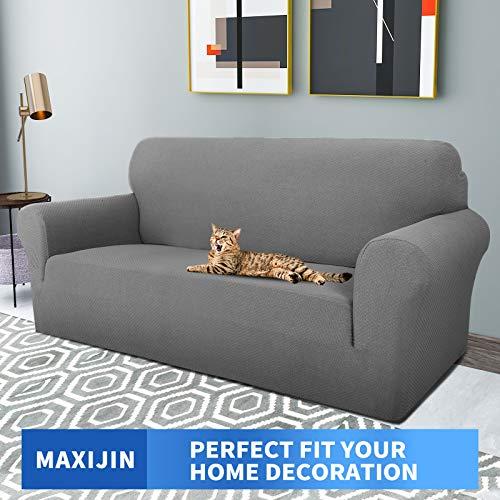 MAXIJIN Fodere per divano jacquard creative per 2 posti, 1 pezzo copridivano antiscivolo super elasticizzato per divano per cani protezione per mobili per animali domestici (2 Posti, Grigio Chiaro)
