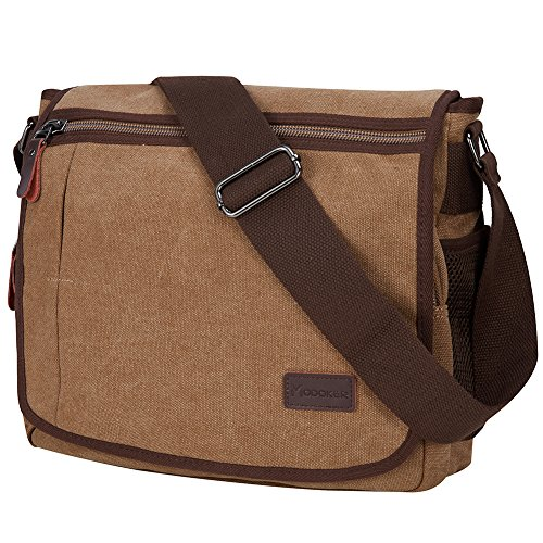 Modoker Messenger Bag for Men, 13 Inches Laptop Satchel Bags, Canvas Shoulder Bag with Bottle Pocket, Brown