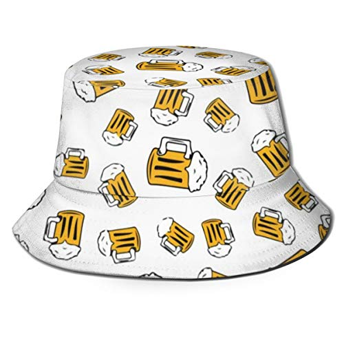 NA Fischerhut für Herren, Outdoor-Sonnenmütze, Bier, Cartoon-Muster