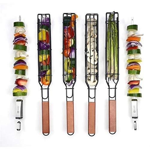GDYJP Cestas de asado de Kebab, cestas de asado de Kabob no Palo, Canasta de Salchichas de Mango Largo, Jaula de Salchichas de Barbacoa, cestas de Kabob para Barbacoa (Color : Black)