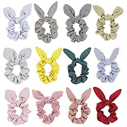professional Hair tie with ribbon – Striped hair tie with rabbit ears Women's ponytail holder…