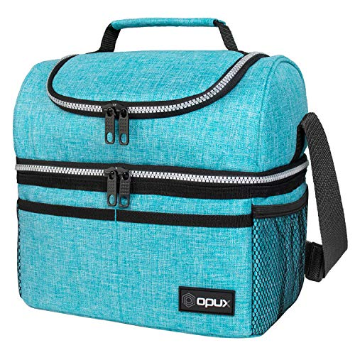 Insulated Dual Compartment Lunch Bag for Men Women  Double Deck Reusable Lunch Box Cooler with Shoulder Strap Leakproof Liner  Medium Lunch Pail for School Work Office Aqua Turquoise