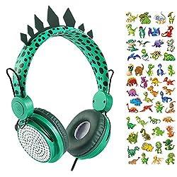 3. Charlxee Kids Dinosaur Headphones with Microphone