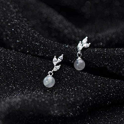 WOZUIMEI Pendientes de Plata S925 para Mujer, Estilo Coreano, Hoja de Moda Simple, Diamante, Personalidad de ModaPendientes Moonstone
