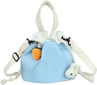 SNOWINSPRING Kleine Tasche Frauen Mode SüE Textur Eimer Tasche LSsige Schulter Bote Segeltuch Tasche Blau