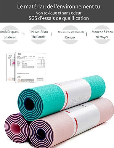 YAWHO Tapis de Yoga Tapis Fitness Tapis d'Exercice,matières de TPE,Dimension:183cmX66cm,épais de 6 mm,très Grand Tapis de Sport antidérapant,Un Sac à Dos comme des Cadeaux (Blue)