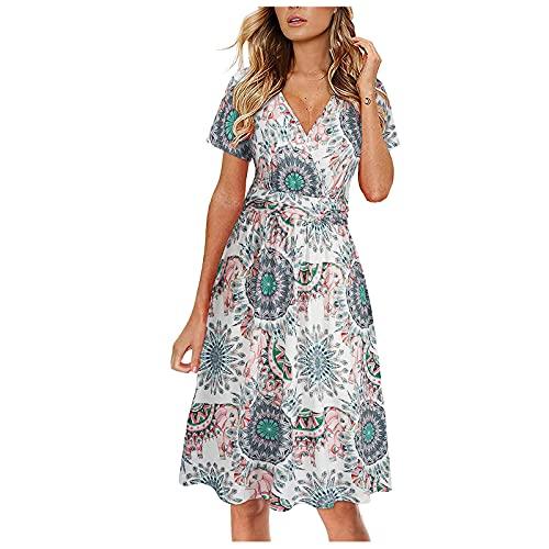 fine_fine Women's Summer Short Sleeve Casual Dresses Elastic Sun Dress T Shirt Floral Printing Beach Maxi Loose Dress