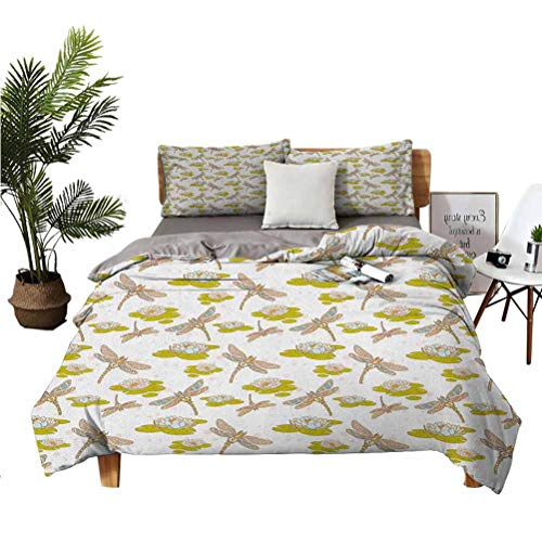"""Dragonfly 3 piece set beautifully printed on the bed Lotus Flower with Symbolic Insects Meditation Theme Artsy Print Suitable for any bedroom or guest room Full (Double) 80'x90' 20"""" x 26"""" Green Cream"""