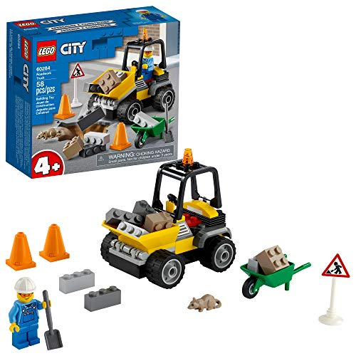 LEGO City Roadwork Truck 60284 Toy Building Kit; Cool Roadworks Construction Set for Kids, New 2021 (58 Pieces)