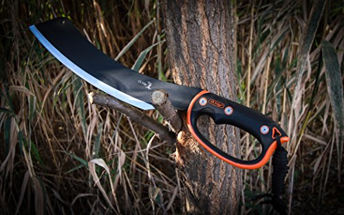 Elk Ridge - Outdoors Fixed Blade Machete - 20.5-in Overall, Black Stainless Steel Blade, Orange and Black Injection Molded Handle with Lanyard, Nylon Sheath, Camping, Hunting, Survival - ER-280