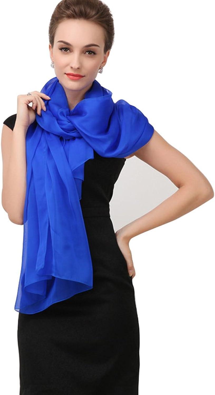 Scarf bluee Silk Long Female Summer Scarfs Women Spring and Autumn Long Silk Shawl Beach Sunscreen Thin Soft (color   bluee, Size   25065cm)