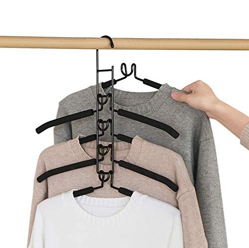 Flera lager klädhängare – 5 i 1 halkfri svamp metall klädhängare garderob förvaring hängare utrymmesbesparing multifunktionell garderobshängare platsbesparande (svart)