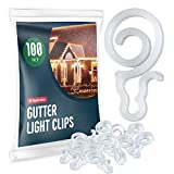 Holiday Light Clips [Set of 100] Gutter Light Clips, Hang By Cord All Type Outdoor Lights C5, C6, C7, C9, Mini, Icicle, Rope Lights. Christmas Light Clips Outdoor. No Tools Required - USA Made