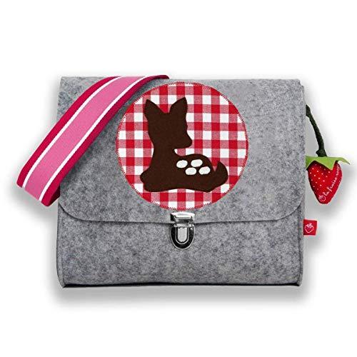 la fraise rouge: Kindergartentasche Filztasche für Mädchen mit Namen & Kitz/Bambi auf Vichy Karo...