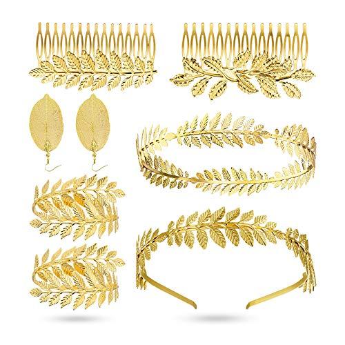 8 piezas de diadema de diosa griega con corona, accesorios para el pelo, pulsera romana de laurel