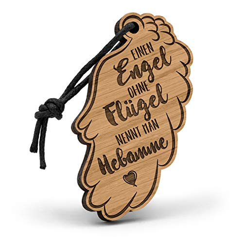 Fashionalarm Schlüsselanhänger Engel ohne Flügel nennt Man Hebamme aus Holz mit Gravur | Geschenk-Idee Geburtshelferin zum Danke Sagen Beruf Job, Eiche