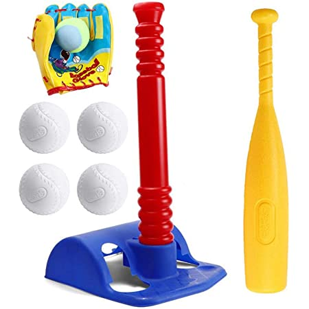 Toddler Baseball Toy Set,8 Different Colored Balls,for Kids 1 2 3 Years Nrpfell 16.5-Inch Childrens Foam Soft T-Ball T Ball