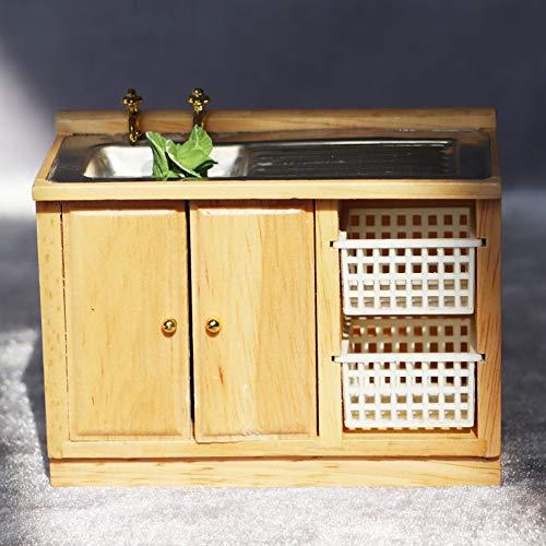 Kalaokei 1/12 Handwäsche Waschbecken Modell Küchenmöbel Miniatur Puppenhaus Spielzeug Schönes Mini-zusammengebautes Haus, Puppenhaus Zubehör