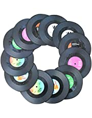 Awtlife12 posavasos de vinilo con diseño retro de discos de CD para bebidas, para suministros de boda