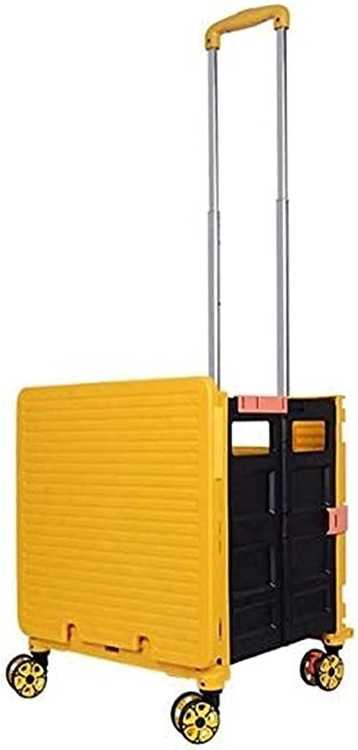 WXking Carro de la herramienta plegable Cubierta de la olla con 4 rueda de desplazamiento giratorio a la tienda de comestibles Compras Oficina de plástico amarillo Portátil (color: amarillo, Tamaño: 3
