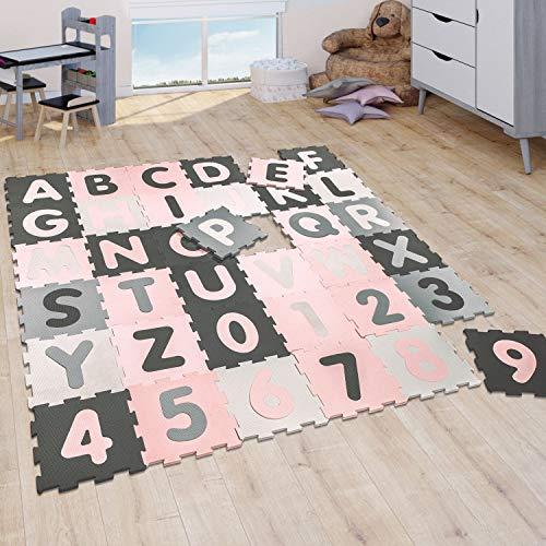 Puzzlematte Spielmatte Schaumstoffmatte Baby Kinder Matte Mädchen Zahlen Buchstaben Pastell Rosa 36 Puzzleteile, Grösse:32x32 cm