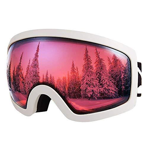 XUWLM Skibrille Herren und Damen Skibrille, Anti-Fog, Anti-Glare, 100% UV400 UV-Schutz Sonnenbrille, Geeignet zum Skifahren, Snowboarden, Downhill-Ski, Sonnenbrille mit Zwei Gläsern, Pinke Linse