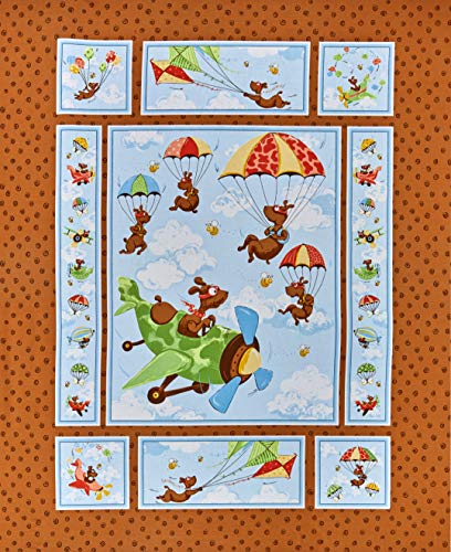 Susybee 0667896 Zig Flying Ace Dog Quilt 36'' Panel Brown Fabric Stoff, Textil, braun, By The Yard
