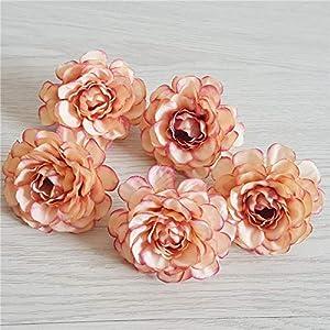 Silk Flower Arrangements Artificial and Dried Flower 30pcs Autumn Azalea Artificial Floral 5CM Fake Tea Rose Flower Head Wedding Decor for Home Candy Box Gift DIY Bride BAouquet - ( Color: As Pic Show )