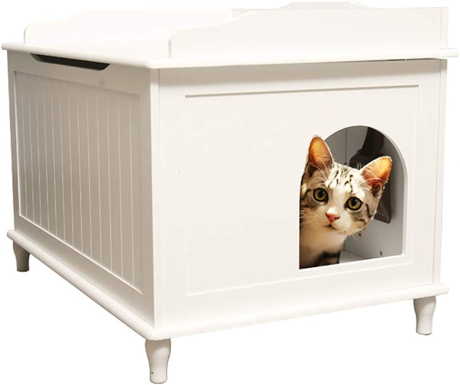Nwn Wooden Pet Bed Fully Enclosed Deodorant Cat Litter Four Seasons Universal (color   White)