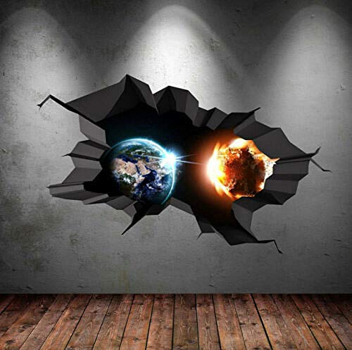 Wandtattoo 3d space wall decal crack hole space galaxy stars full color sticker