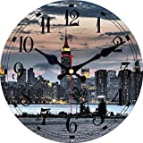 XYQY Reloj de diseño de Escena Nocturna Vintage Reloj de Pared Sala de Estar Baño Decoración para el hogar Arte de Pared Reloj de Pared Grande Sin Sonido de tictac 14 Pulgadas (34 cm) Negro