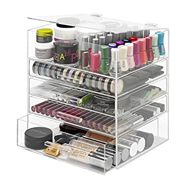 Whitmor 5 Tier Extra-Large Cosmetic Organizer and Jewelry Storage Display Case - East Clean Acrylic