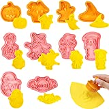 10 Pieces Halloween Plunger Biscuit Mold Cookie Cutters 3D Mini Fondant Cookie Stampers for DIY Cake Baking Decoration Supplies Favors