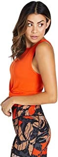 Rockwear Activewear Women's Oasis Twist Knot Crop Tango 4 from Size 4-18 for Singlets Tops