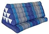 Wifash Cojín triangulo tailandés XXL, con colchoneta Plegable, Kapok, Playa, Piscina, Fabricado en thailande, Azul (82216)