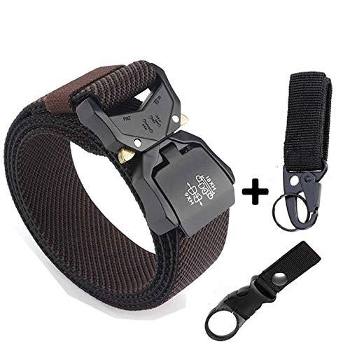 BMZGGIV Cinturón táctico Cinturón de Jeans elástico para Hombres Aleación de Aluminio enchufable Encargado de Hebilla Cinturones tácticos Cómodo Cinturón Masculino Caza para los Hombres