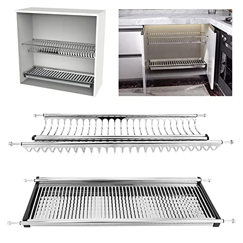 Dish Draining Rack, Dish Drainer Easy to Clean for Drain Dishes for Agricultural Products(Cabinet Width 70cm, White)