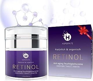 Retinol Feuchtigkeitscreme Creme, Anti-Aging & Anti Falten Creme von HOPEMATE für Gesicht & Augen, für Tag & Nacht, mit 2,5% Retinol  Hyaluronsäure  Vitamin E  Grüner Tee  Jojobaöl, 50ml