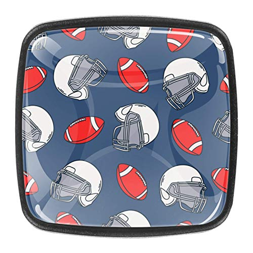 4 pomos para gabinetes de cocina, bonitos tiradores cuadrados de cristal transparente con tornillos para cocina, aparador, armario, baño, armario, ropero, fútbol de rugby