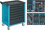 Hazet bestückter Werkstattwagen (120-teiliges Sortiment in 4 Weichschaumeinlagen, 5 Flache und 2 hohe Schubladen) 177-7/120, Blau