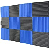 Mybecca 12 Pack Acoustic Panels Studio Foam Wedges Charcoal/Blue 1' X...