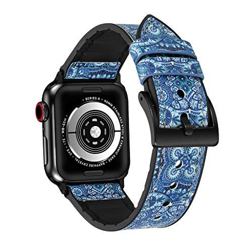Transer Bracciale in Cinturino con Cinturino in Pelle + TPU per Apple Watch Series 4 40mm (Blue)
