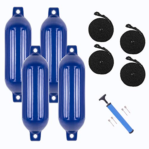 VINGLI 4-Pack Ribbed Boat Fender, 6.5 x 23 inch, with Ropes & Inflator, for 20-30 ft. Boat, Small Sailboat, Ski Boat etc.… (Cobalt Blue, 6.5 x 23 in.)